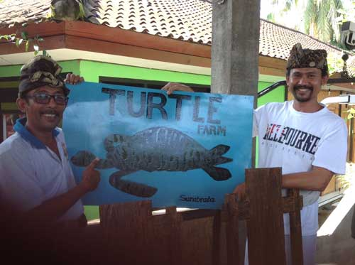 turtle farm sign, Gede and cousin